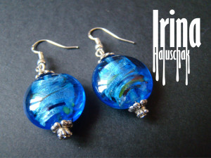 Blue lampwork beads earrings with silver hoocks. Round glass earrings. Beaded earrings. Lampwork earrings. Foil glass earrings. Boho style