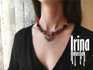 Red Ukrainian zgarda cross necklace to vyshyvanka Traditional Ukraine jewelry Red glass beads necklace Lampwork beads unique jewelry Ethnic