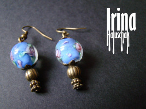Light blue lampwork glass earrings with pink roses Bead earrings Beaded earrings Boho style earrings Handmade jewelry