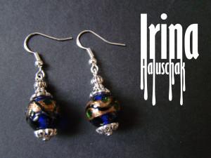 Venetian glass earrings Blue lampwork beads earrings with gold stripe venetian earrings Boho style earrings Lampwork glass earrings