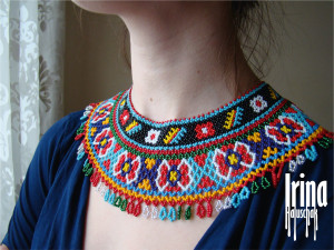 Ukraine beaded necklace Vyshyvanka necklace Seed bead gerdan Beads collar Wide tribal women necklace Boho style necklace Ukrainian sylyanka