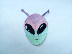 Alien patch - Unusual rainbow pastel alien patch - space pin - Bag accessories - Patches for Jackets - Iron On Patch - Embriodered patch