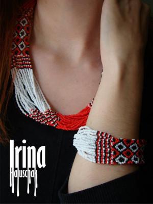 WOW! Jewelry Set Folk beaded necklace and bracelet Ukrainian Seed bead nekclace Gerdan Vyshyvanka necklace Boho jewelry style Red necklace