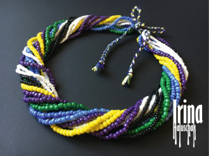 Beaded necklace Multistrand multicolored bead necklace Boho jewelry necklace Seed bead necklace Green necklace Violet necklace Statement