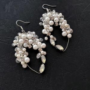 Wedding earrings ,Wedding accessories, Bridal earrings ,White flower crystal earrings  ,Vintage earrings ,Boho earrings