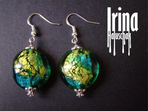 Emerald and green lampwork bead earrings Beaded earrings Boho earrings foil glass earrings Handmade earrings Ukrainian jewelry