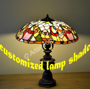 Parrots Stained glass lamp. Tiffany lamp. Stained glass desk lamp. Tiffany light. Stained glass bird.Stain glass art.Colorful glass lighting