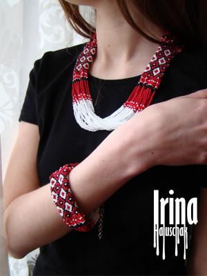 WOW! White and red Jewelry Set Beaded necklace and bracelet Ukraine vyshyvanka seed bead Nekclace Gerdan Ethnic ukrainian style Boho Tribal