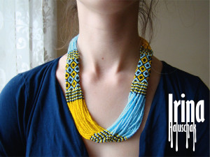 Seed bead multistrand necklace Blye and yellow necklace Ukrainan necklace Ukraine flag Vyshyvanka necklace Folk jewelry Beaded necklace