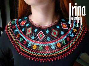 Folk Ukraine jewelry Beaded collar Lemko Kryza Gerdan Seed bead necklace Vyshyvanka jewelry Tribal beaded necklace Boho style Ukrainian