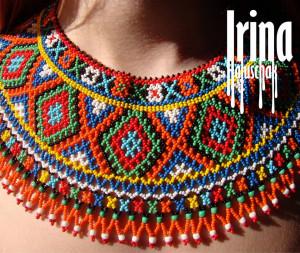 Ukrainian traditional necklace. Beaded collar Kryza. Gerdan