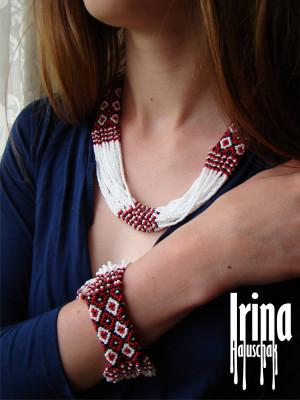 WOW! White and red Jewelry Set. Folk necklace and bracelet. Ukrainian Beads Nekclace. Gerdan. Ethnic ukrainian style. Vyshyvanka