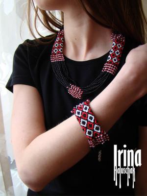 Black and red Jewelry Set Folk necklace and bracelet Ukrainian seed bead nekclace Beaded bracelet Vyshyvanka jewelry ser Ukraine jewelry