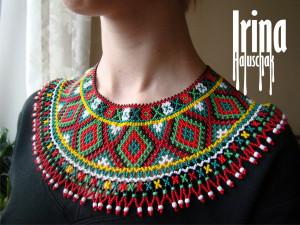 Ukrainian traditional seed bead necklace Beaded collar Czech glass seed bead Ukraine vyshyvanka necklace Lemko Krywulka necklace Gerdan