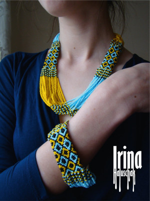 Ukraine jewelry set Seed bead necklace and bracelet Baaded blue and yellow necklace Ukrainian necklace Vyshyvanka necklace Beaded bracelet