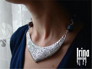 Large metal pendant necklace Lampwork necklace with bird pendant Ukrainian jewelry Bordo beads necklace Floral necklace