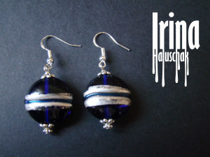 Transparent blue lamwork bead earrings with solver color foil stripe Lampwork earrings Boho style earrings with silver plated hooks