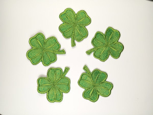 Set 5 pcs Green Four-Leaf Clover Good luck patch - Magic symbol pin - mini patch for jackets - Iron On Patch - Embrioder patch