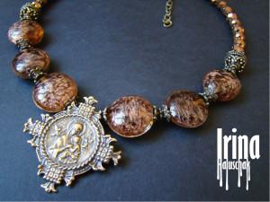 Ukrainian bead necklace to vyshyvanka Zgarda cross necklace Lampwork beads Icon cross pendant Bohemian jewelry Cross jewelry Folk art