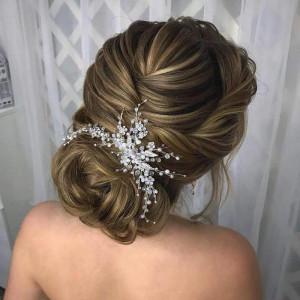 Silver Bridal hair comb pearl/Hair piece for bride/Wedding hair accessories/Large wedding hairpin/Headpiece crystal/Winter wedding/for bun
