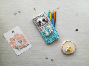 Animal pencil case as gift for schoolchild, Toy pen case Sloth as back to school present
