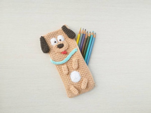 Animal pencil case as gift for schoolchild, Toy pen case Dog as back to school present, kids accessories cover