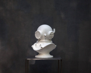 Diver's helmet white Sculpture // Steampunk bust // / Loft style statue //Man cave perfect // FREE SHIPPING WORLDWIDE