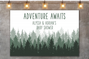 Forrest Woodland Baby Shower Welcome Sign, Forrest backdrop sign, Adventure Baby Shower, Candy table backdrop, Lumberjack Baby Shower Sign