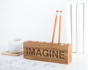 Desk organizer for pencils, brushes and pens. Simple and stylish wooden item. Free shipping