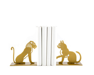 Metal Bookends A Lion and A Cat by Atelier Article // FREE  SHIPPING