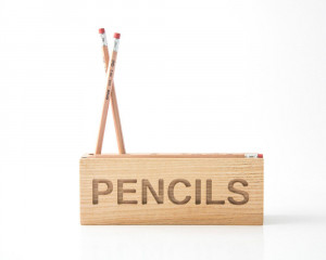 Desk organizer for pencils, brushes and pens. Simple and stylish shabby looking wooden  item