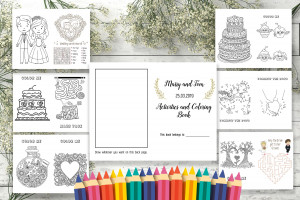Wedding Printable Coloring Book, Wedding Coloring Pages, Children's Activity Book, Kid's Activity, RECEIVE A  CUSTOMIZED FILE in 24 hours