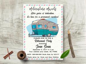 Travel Camper retirement celebration invite Adventure Awaits Retirement party invite Travel invitation Happy camper invitation