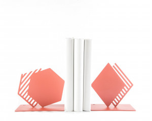 Metal Bookends Coral Geometry and Stipes // unique book holders for modern home // gift for reading trendy decor lover // FREE  SHIPPING