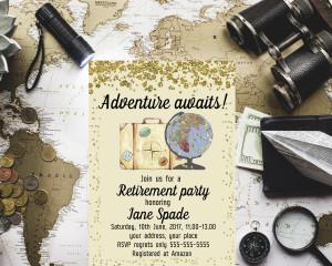 Gold confetti Travel retirement celebration invite Adventure Awaits  Retirement party invite Surprise retirement Travel Suitcase invitation