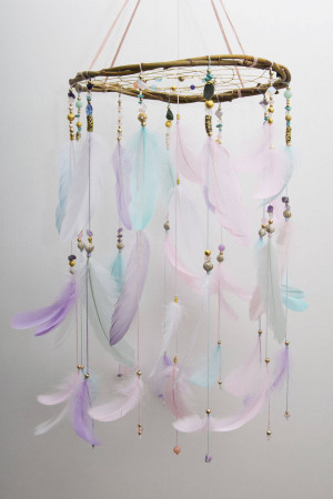 Bаbу Mobile Nursery Decor Mobiles Kids decor Colorful Crib Bedroom Dream Catcher Kids Baby Girl Boy Mint Pink Gold