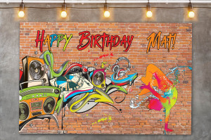 Hip Hop Themed Party backdrop sign, Hip Hop Personalized Backdrop, Graffiti Birthday Backdrop, 90's Birthday Backdrop, Printable Download