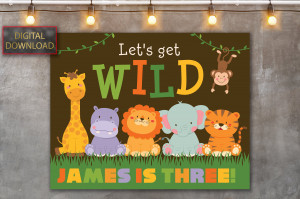 Safari Animals Backdrop, Candy Table Backdrop, Jungle baby shower, Wild One backdrop, King of the Jungle sign, Safari baby shower, Digital