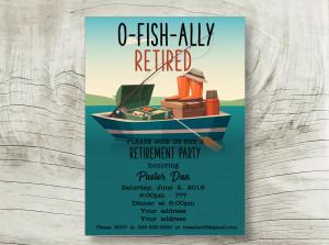 Fishing retirement invite, Fishing party invite, Fishing Birthday Invitation, Fish Invite, Ofishially retired invite