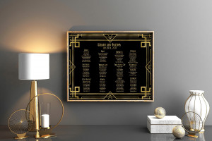 Great Gatsby seating chart, Roaring 20's table chart, Black and gold seating chart, Art Deco seating chart, Prohibition party seating chart