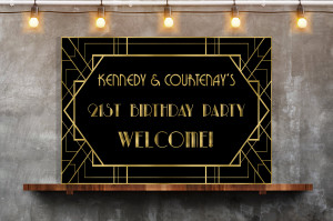 Great Gatsby backdrop sign, Party Banner Birthday Backdrop, Wedding Backdrop Sign, Welcome Sign, Black and gold backdrop, Printable Backdrop