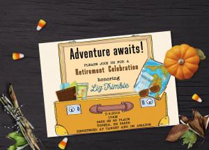 Travel retirement invitation, Retirement invitation, Retirement invitation travel, Travel invitation, Adventure awaits retirement invitation