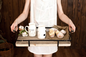 Wooden serving tray with metal railings // Reused palette wood at the bottom // Unique piece for indoors or outdoors // FREE SHIPPING
