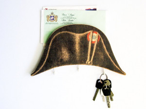 Key Hook - Wall Organizer - Letter Shelf - Napoleon hat- hooks and a shelf for your keys and letters