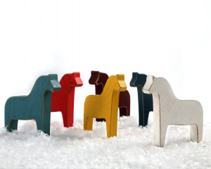 Colorful Set of Scandinavian Dala Horse Wooden Toys // Make a Special Addition to Your Holiday Decor // Free Shipping Worldwide
