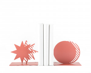 Metal Bookends Coral Star and Moon // unique book holders for modern home // gift for a reading trendy decor lover // FREE  SHIPPING