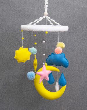 Baby Mobile Felt Moon Mobiles pom pom Nursery Kids Room Decor Сhildren dream catcher Crib Dreamcatcher Gift ideas Bedroom girl boy handmade