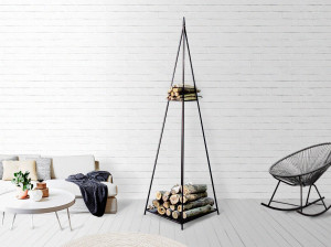 Log holder // Firewood Storage for indoors or outdoors //Pyramid // Hand forged from durable iron. Shelf for kindling.