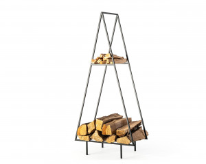 Firewood Storage for indoors or outdoors with a kindling shelf // Spruce // Hand forged Log holder  from Durable Iron