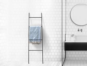 Blanket Display Skinny Ladder Storage // Straight // Velvety Black // Minimalist functional decor // Free Shipping